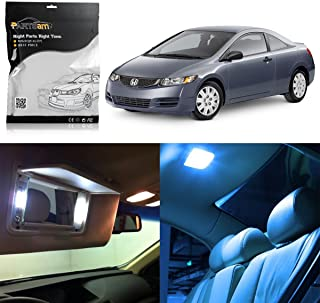 Partsam LED Interior Package Light Kits Pry Bar Replacement for Honda Civic Coupe Sedan 2006-2012 -10 Pieces/Ice Blue