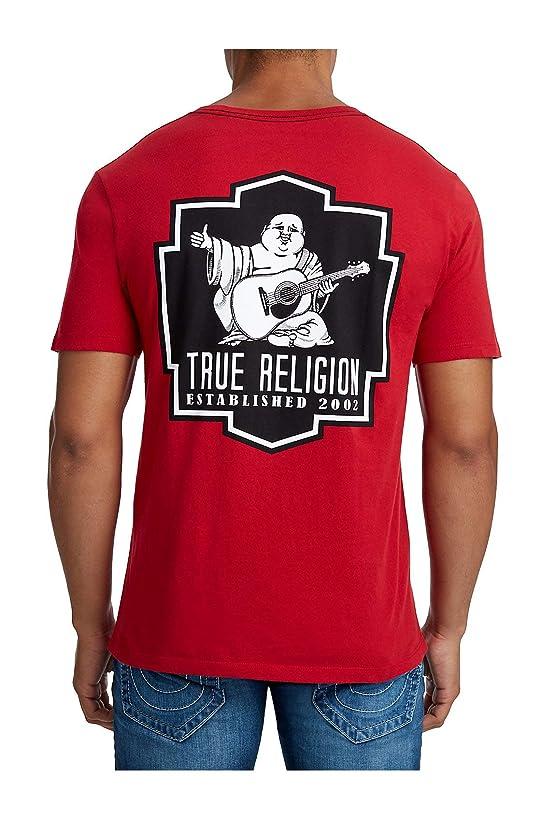 True Religion Men's Black Crest Crew Neck Tee T-Shirt in Red