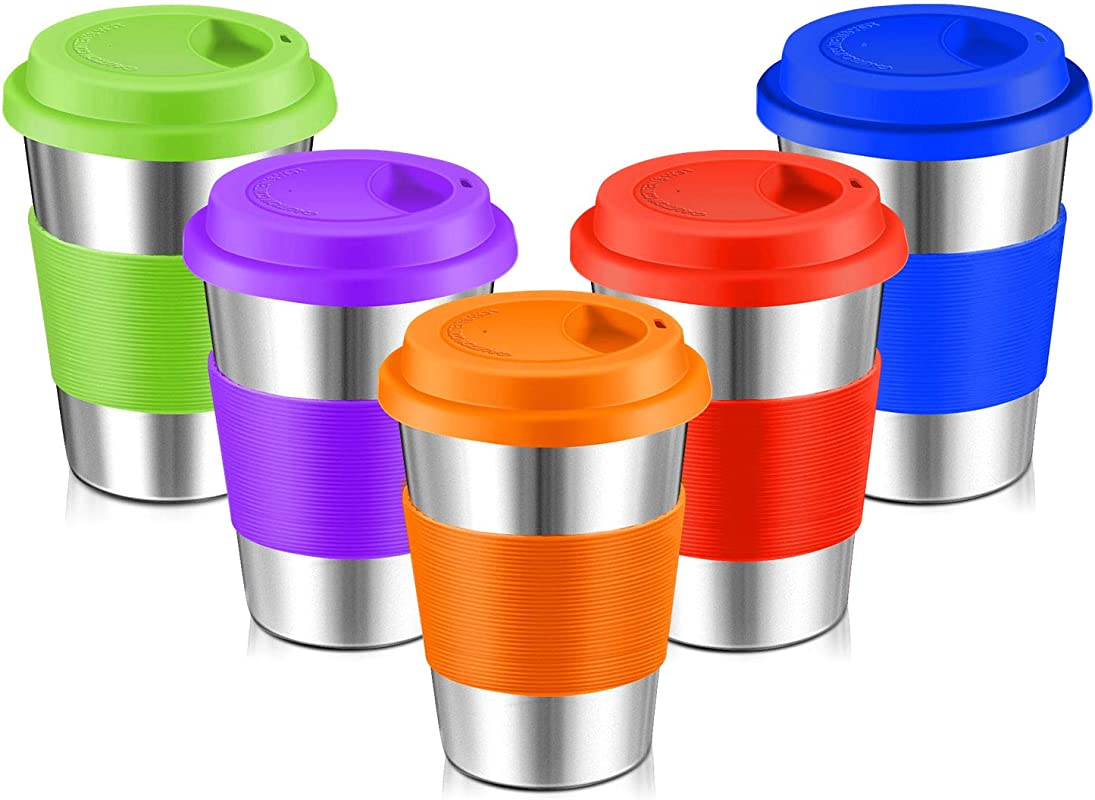 Stainless Steel Cups Spnavy 12 OZ Stackable Pint Cup Tumbler With Silicone Lids Sleeves For Adults Kids Toddlers Metal Drinking Glasses For Pubs Bars Travel Camping Home And Outdoor Use 5 Pack