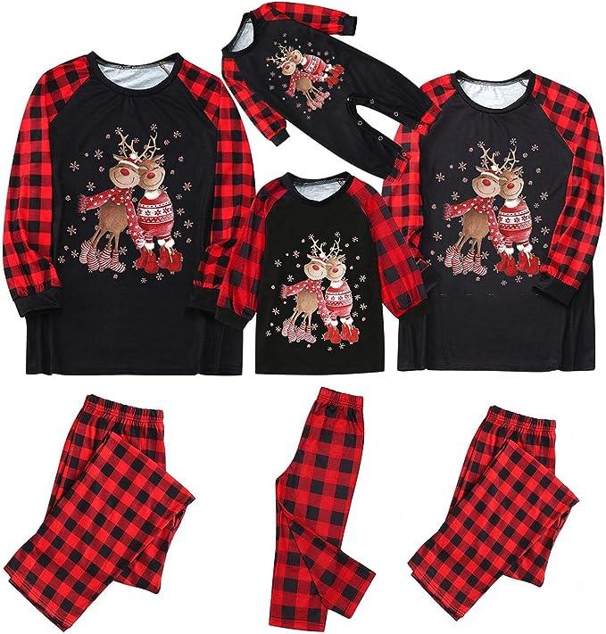 Christmas Pajamas for Family, Matching Pajamas Set Vintage Red Plaid Elk Printed PJs Xmas Long Sleeve Loungewear Set