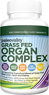 Paleovalley: Grass Fed Organ Complex - Desiccated Beef Organ Capsules - 30 Day Supply - Provides B12 Vitamins - Gently Freeze Dried - Variety of Organ Meats - Liver, Heart, Kidney