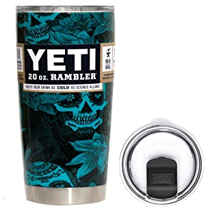 YETI Coolers 20 Ounce (20oz) (20 oz) Custom Hydro Dipped Rambler Tumbler Travel Cup Mug with New Magslider Spill Proof Lid (Dipped Teal Sugar Skulls)