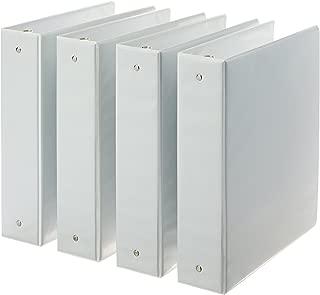 AmazonBasics 3-Ring Binder, 2 Inch - 4-Pack (White)