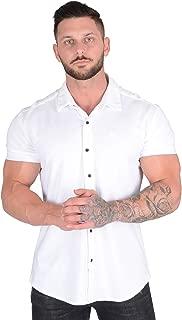 Men Dress Shirt Athletic Slim Fit Short Sleeve Button Down 418