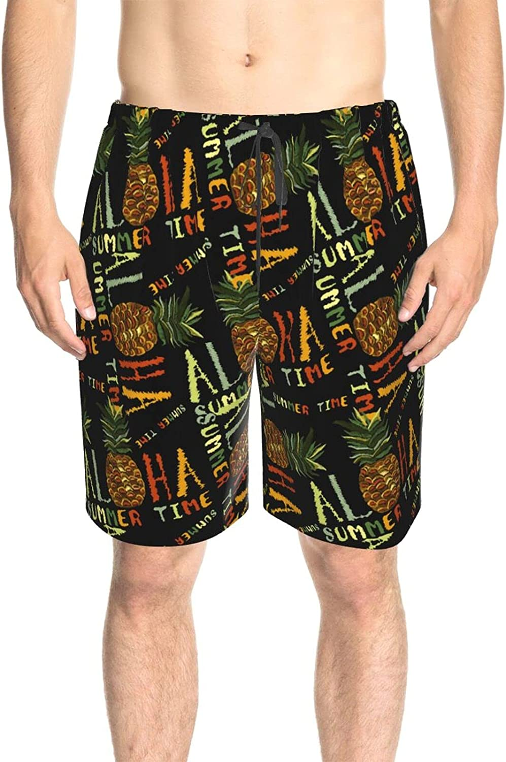 Men's Swim Trunks Aloha Tropical Summer Pineapple Beach Board Shorts Quick Dry Comfy Surfing Board Shorts with Lining