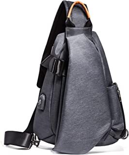 Shoulder Bags Men's Sports Bag Wallet Student Leisure Chest Bag with USB Port Outdoor Crossbody Bag Triangle Package Small Backpack