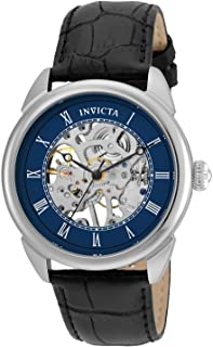 Invicta Men's Specialty Stainless Steel Mechanical-Hand-Wind Watch with Leather Calfskin Strap, Black, 22 (Model: 23534