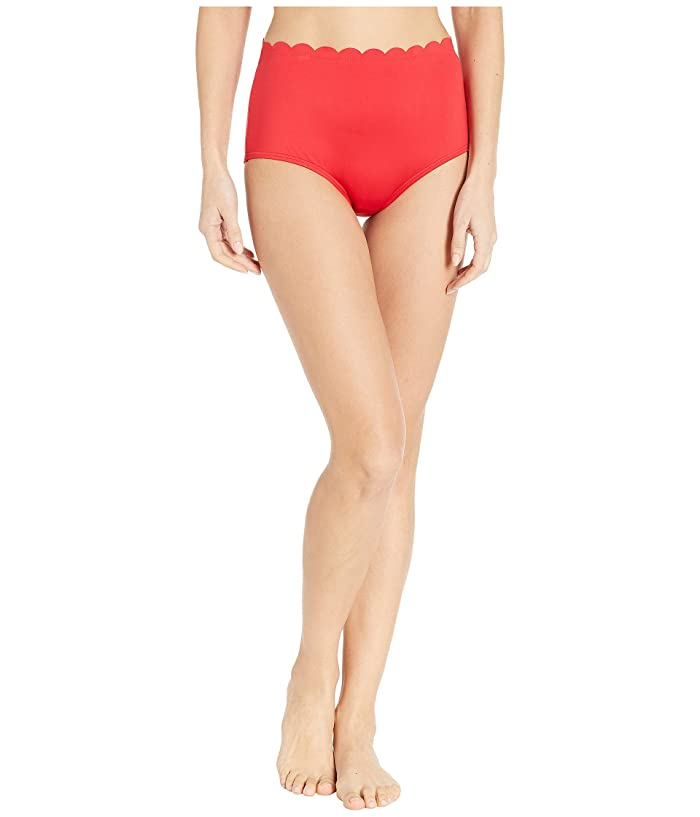 Kate Spade New York Core Solids #79 Scalloped High-Waist Bikini Bottom (Rosa Red) Women