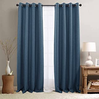 jinchan Room Darkening Window Curtain Panels for Bedroom Curtains for Living Room Linen Look Textured Drapes Single Panel 95 Denim Blue