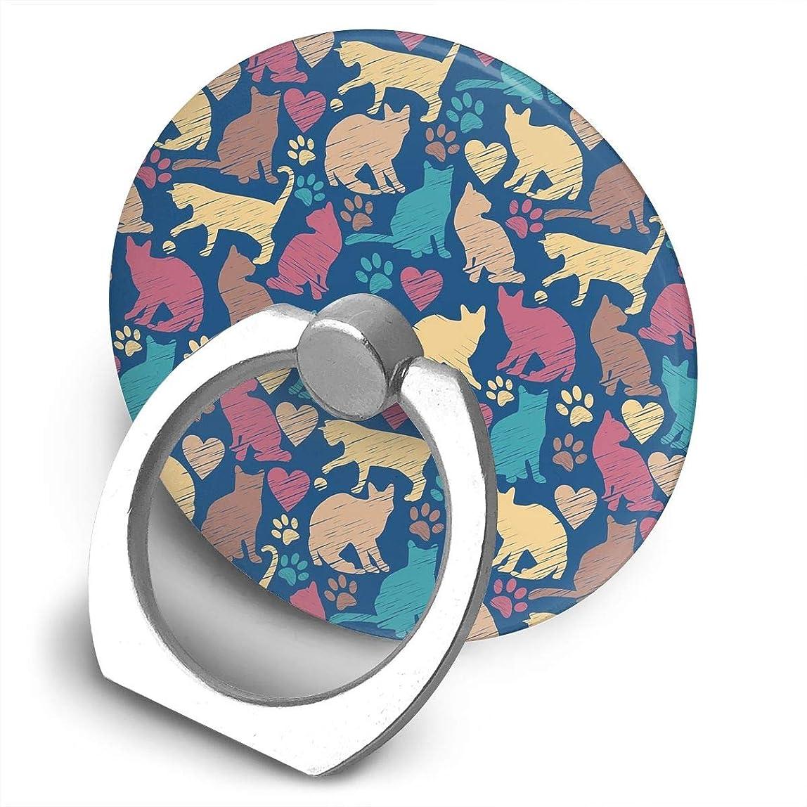 ステーキ救出洗剤カラフルな猫 360度回転 携帯リング スタンド スマホスタンド ホルダー 薄型 指輪 リング 携帯アクセサリースタンド機能 落下防止
