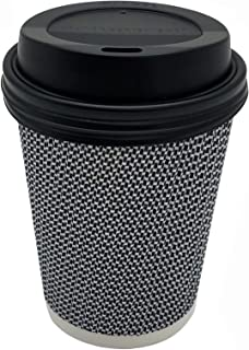 [150 SET] 8 oz Disposable Double Walled Hot Cups with Lids - No Sleeves needed 8oz Premium Insulated Ripple Wall Hot Coffee Tea Chocolate Drinks Espresso Travel To Go Paper Cup and lid Black Geometric