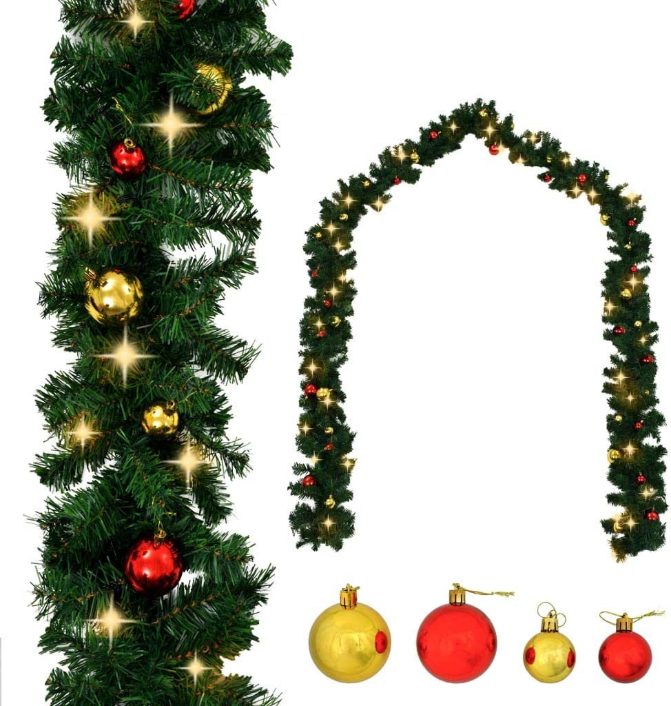 Unfade Max 49% OFF Memory Christmas Garland with Lights Direct sale of manufacturer and LED Hol Baubles