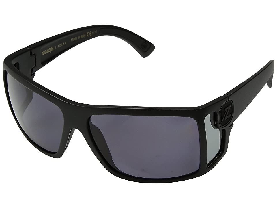 VonZipper Checko Polar (Black Satin/Wild Vintage Grey Polar) Athletic Performance Sport Sunglasses