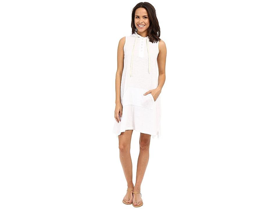 Allen Allen Sleeveless Hooded Henley Dress (White) Women