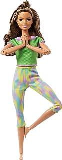 دمية باربي ميد تو موف مع 22 مفصل مرن، سمراء بشعر مموج طويل، ارتداء ملابس رياضية للاطفال من عمر 3 الى 7 سنوات