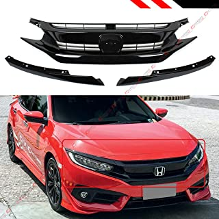 Fits for 2016-2019 Honda Civic 10th Gen JDM Si RS Style Black Front Hood Grill Grille + Eye Lid Replacement