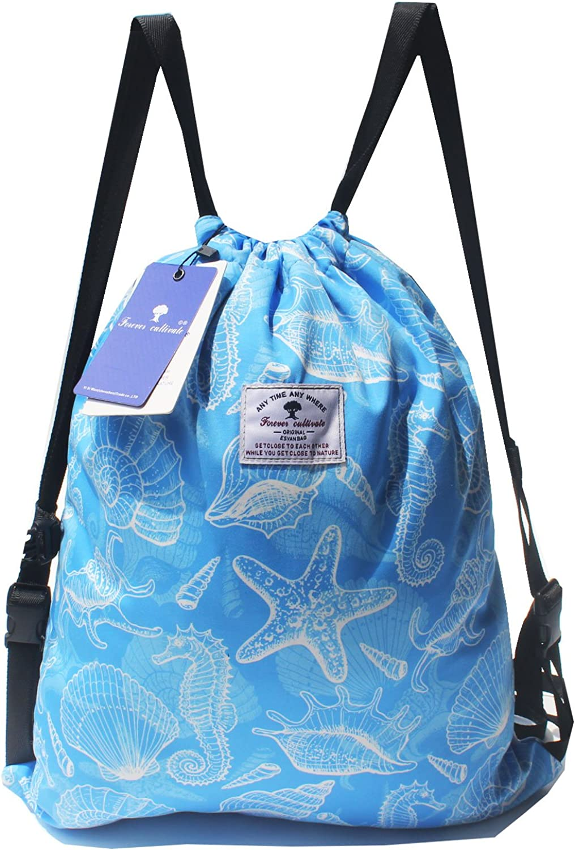 Drawstring Backpack,Beach Bag,Pool Bag or Gym Travel Tote  Lightweight Water Resistant Sea Bags