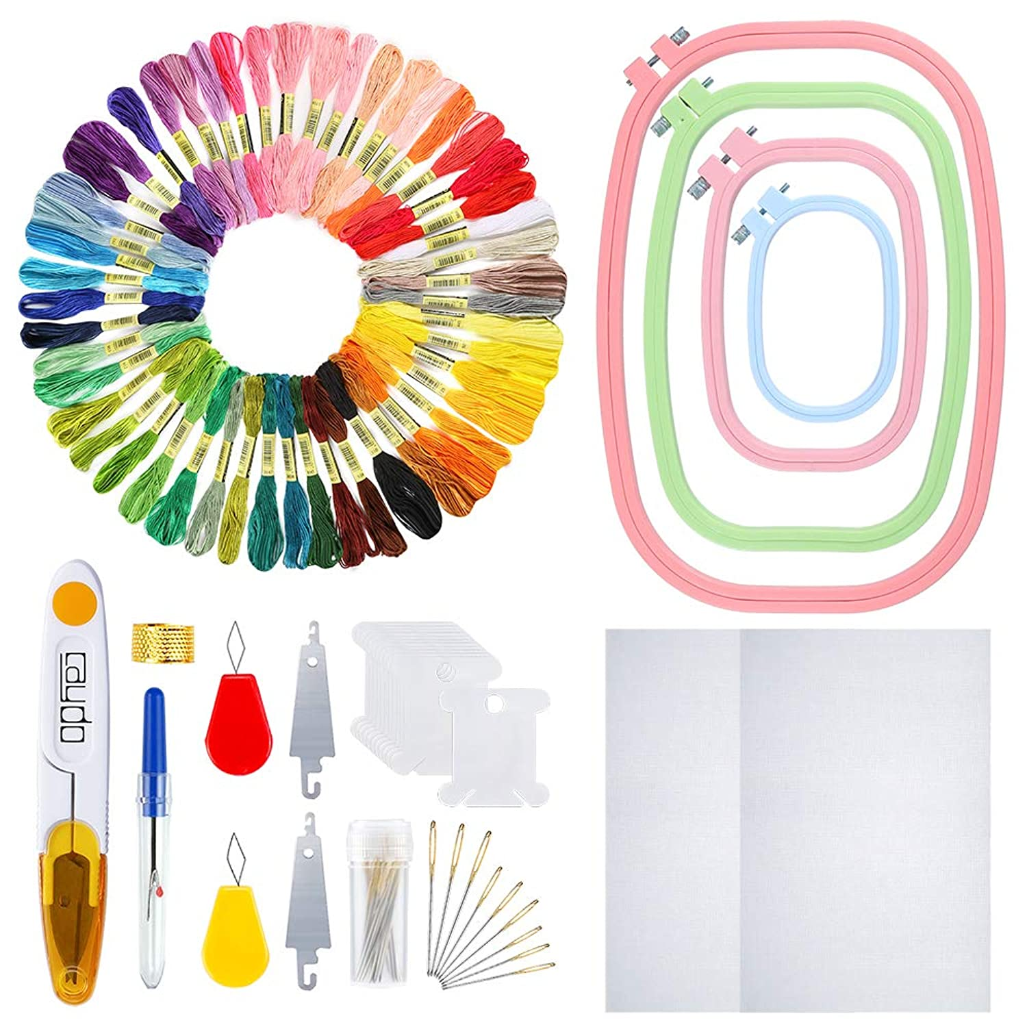 Caydo Full Range of Embroidery Starter Kit Including 4 Pieces ABS Plastic Square Embroidery Hoops, 50 Color Threads, 2 Pieces 12 by 18-Inch 14 Count Classic Reserve Aida and Cross Stitch Tool Kit