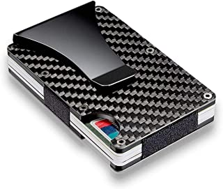 WICHEMI Carbon Fiber Credit Card Holder RFID Blocking Metal Slim Wallet Money Cash Clip