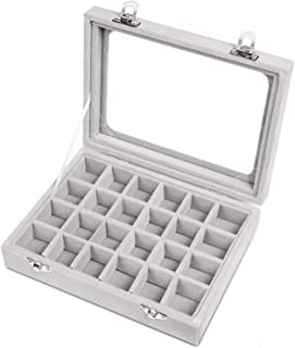 VANCORE Velvet Glass Jewelry Ring Display Organiser Box Tray Holder Earrings Storage Case Grey
