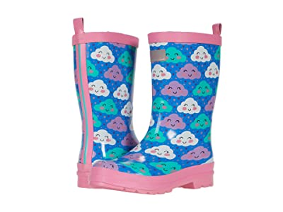 Hatley Kids Cheerful Clouds Shiny Rain Boots (Toddler/Little Kid) (Blue) Girl