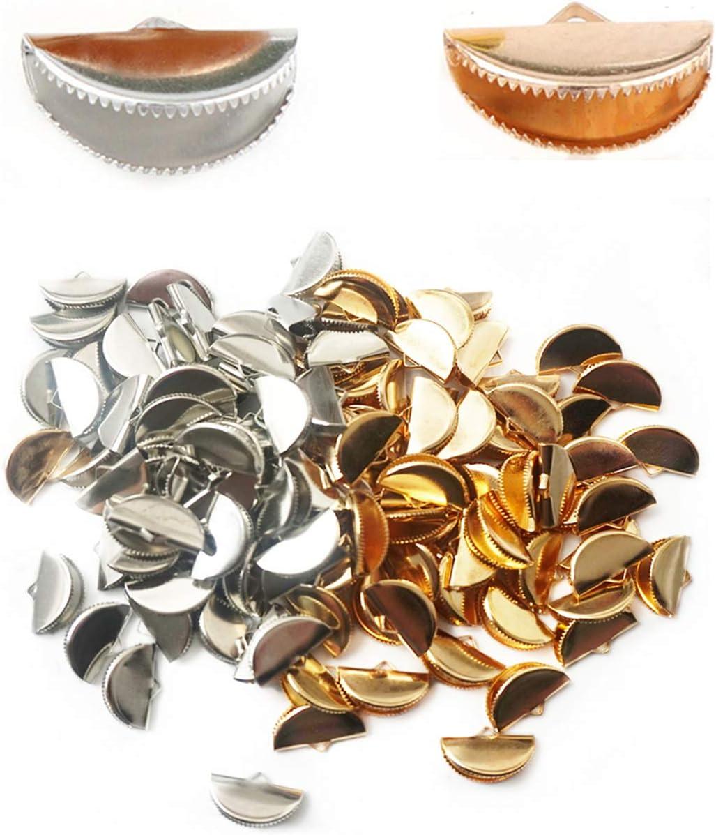Xinhongo 120 Pcs Silver quality assurance Gold Half Sale Special Price B Crimps Ribbon Round End Cord