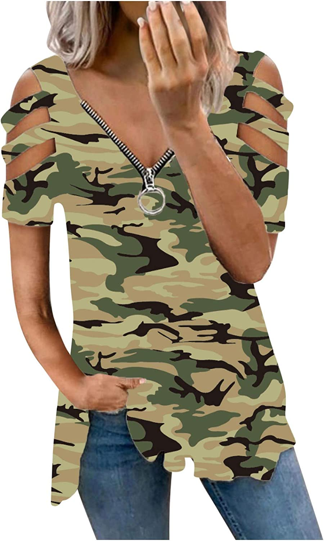 Jaqqra Summer Tops for Women, Womens Stripe Zipper V-Neck Short Sleeve T-Shirts Plus Size Tops Blouse Basic Tunic Tee