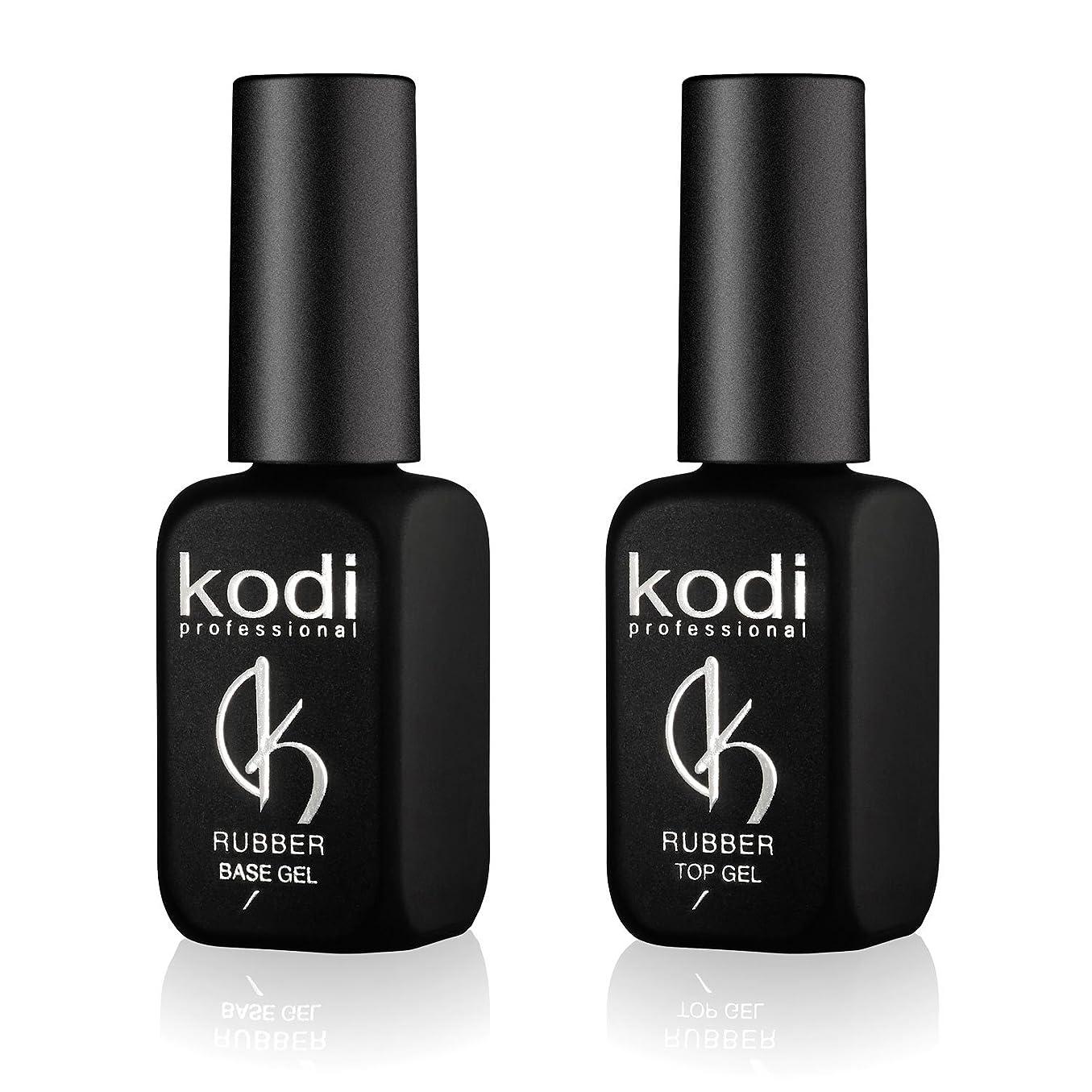 手数料休憩する香りKodi プロフェッショナルラバートップ&ベースジェルセット| 12ml 0.42オンス|爪のソークオフとポリッシュ コートキット|長持ちするネイルレイヤー|使いやすい、無毒&無香料| LEDまたはUVランプの下で硬化