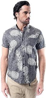 Brooklyn Athletics Men's Hawaiian Aloha Shirt Vintage Casual Button Down Tee