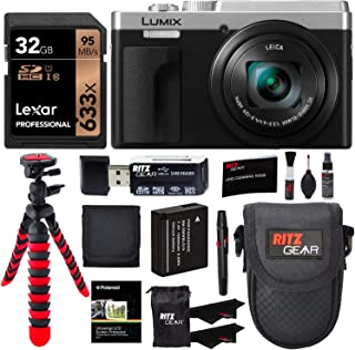 Panasonic Lumix DC-ZS80 4K Wi-Fi Digital Camera (Silver) with Lexar 32GB Memory Card, Tabletop Tripod, Spare Battery, Cleaning Kit, Camera Case and Card Reader