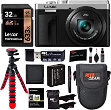 $447 » Panasonic Lumix DC-ZS80 4K Wi-Fi Digital Camera (Silver) with Lexar 32GB Memory Card, Tabletop Tripod, Spare Battery, Cleaning Kit, Camera Case and Card Reader