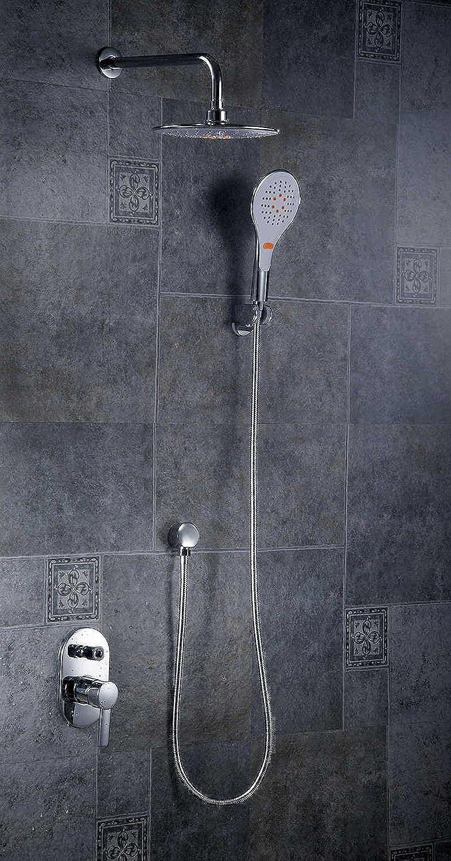 Chrome Rainfall & Waterfall Shower Head + Brass Mixer Valve + ABS Handheld Shower Bathroom Shower Mixer Taps Faucet FS-1356,White