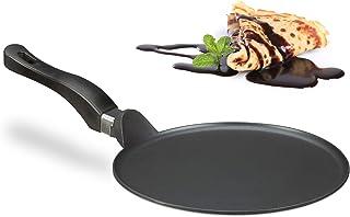 Relaxdays Crepera, Sartén para Tortitas y Crepes, Antiadherente, Plana, 25 cm, Fácil de Limpiar, 1 Ud, Negro, Aluminio