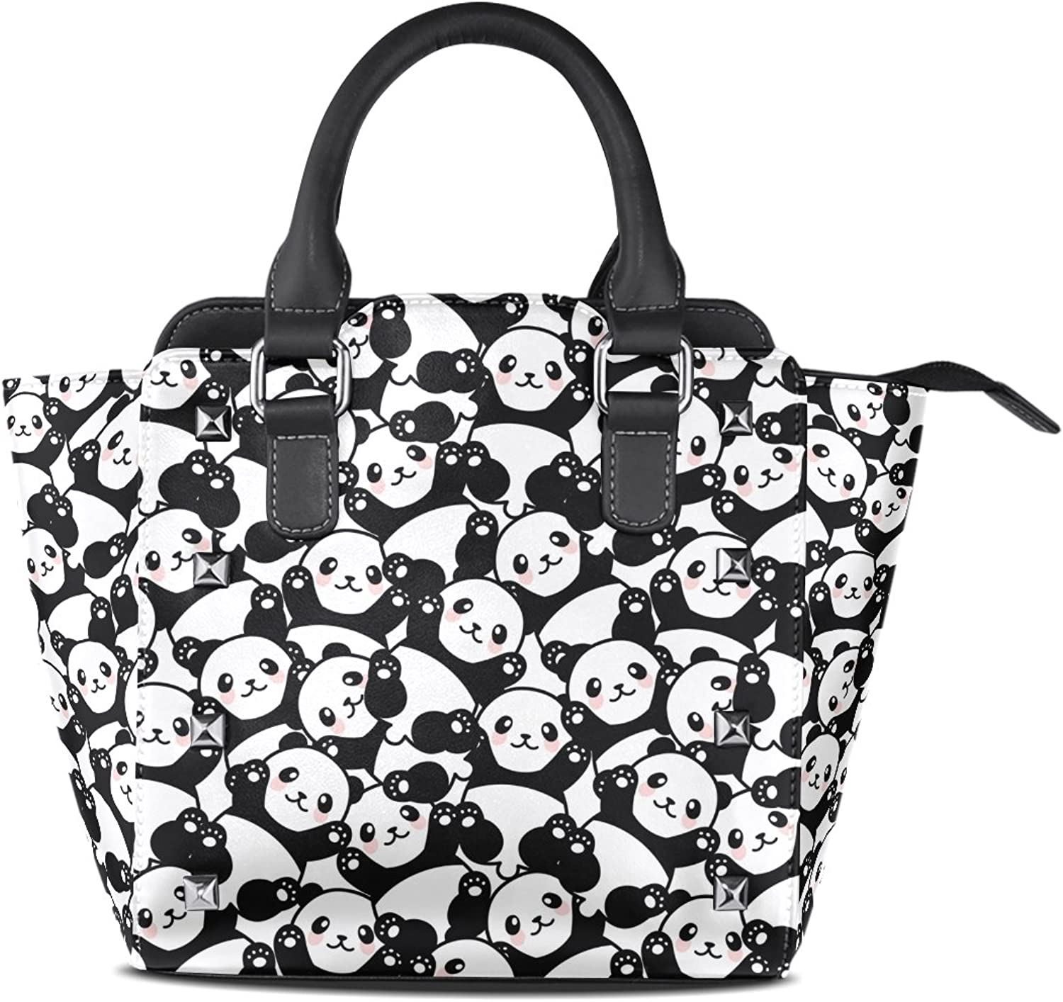 My Little Nest Women's Top Handle Satchel Handbag Cute Panda Pattern Ladies PU Leather Shoulder Bag Crossbody Bag