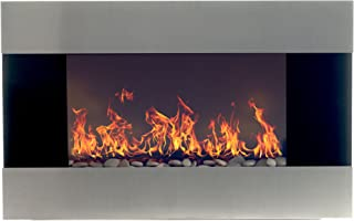 Northwest Stainless Steel Electric Fireplace with Wall Mount and Remote, 36 Inch