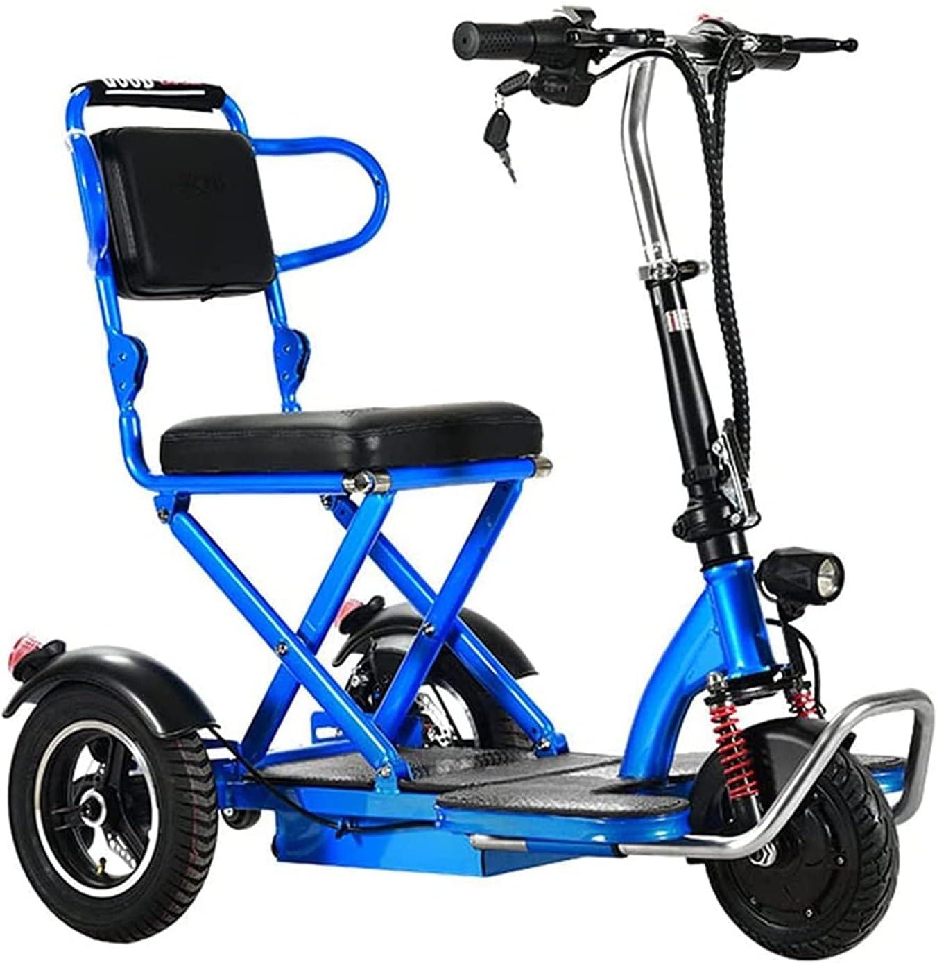 Scooters De Movilidad Eléctricos Plegables De 3 Ruedas para Personas Mayores con Discapacidad, Silla De Ruedas Motorizada Plegable, Silla De Ruedas De Mano Ligera Y Portátil con Asiento