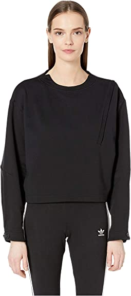 Front Zip Details Crew Sweater