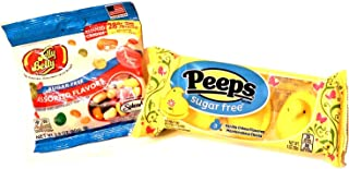 Sugar Free Classics Easter Basket Filler! Bundle Includes 1-1oz Pack of 3 Vanilla Creme Flavored Marshmallow Chicks Peeps and 1-2.8oz Bag of Jelly Belly Sugar-Free Assorted Jelly Beans.