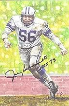 Joe Schmidt Autographed Detroit Lions Goal Line Art HOF 73 Black 13176 - Original NFL Art and Prints