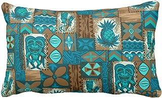 Emvency Throw Pillow Cover Pomaika¡¯I Tiki Hawaiian Vintage Tapa Outdoor Decorative Pillow Case Tribal Home Decor Rectangle Queen Size 20x30 Inch Cushion Pillowcase