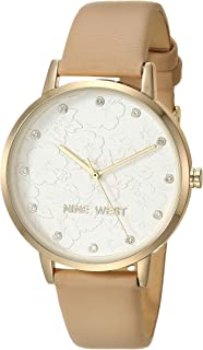 Nine West Women's Crystal Accented Gold-Tone and Ivory Vegan Leather Strap Watch