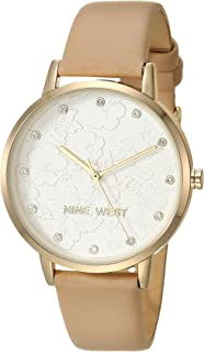 Women's Crystal Accented Gold-Tone and Ivory Vegan Leather Strap Watch
