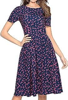 Women's Summer Casual Floral Print Short Sleeve Flared Midi Dress