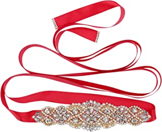 Tendaisy Women's Bridal Belt Rhinestone Wedding Sash Belts with Crystal Beads Pearls for Dresses and Gowns