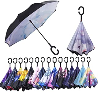 AmaGo Double Layer Inverted Umbrella – Upside Down Inside Out Reverse Umbrella,C-Shape Handle & Self-Stand to Spare Hands, Carrying Bag for Traveling