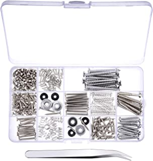 Canomo 254 Pieces Electric Guitar Screw Kit (9 Types) with Springs for Electric Guitar Bridge, Pickup, Pickguard, Tuner, S...