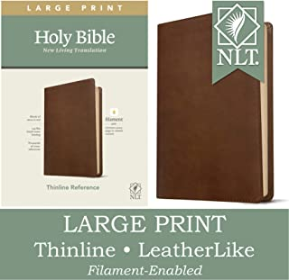NLT Large Print Thinline Reference Holy Bible (Red Letter, LeatherLike, Rustic Brown): Includes Free Access to the Filamen...