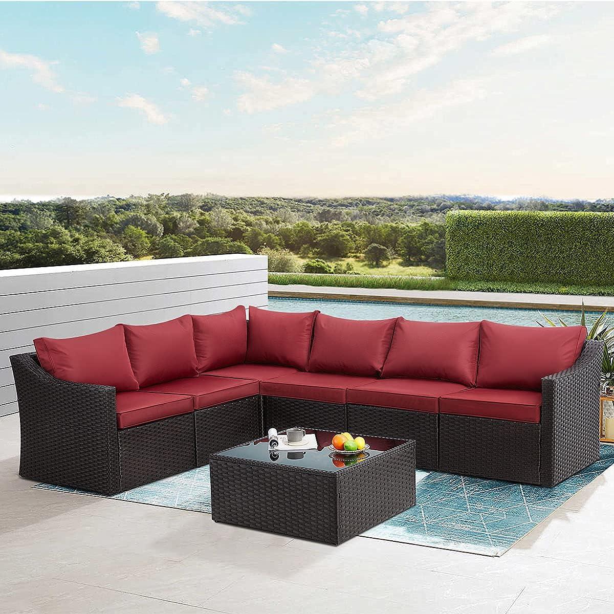 EROMMY 7 Pieces Outdoor Patio Furniture PE 予約 品質検査済 Rattan Set Sectional