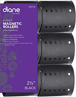 Diane Magnetic Hair Roller, Black, 2 1/2 Inch, Strong material, unbreakable material, curls, perm, holds hair in place, perfect for any hair style, sanitary, washable