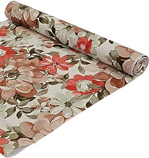 Kuber Industries Flower Design PVC Wardrobe Kitchen Drawer Cupboard Cabinet Shelf Mat, Shelf Liner 5 Mtr (Cream) - CTKTC040190